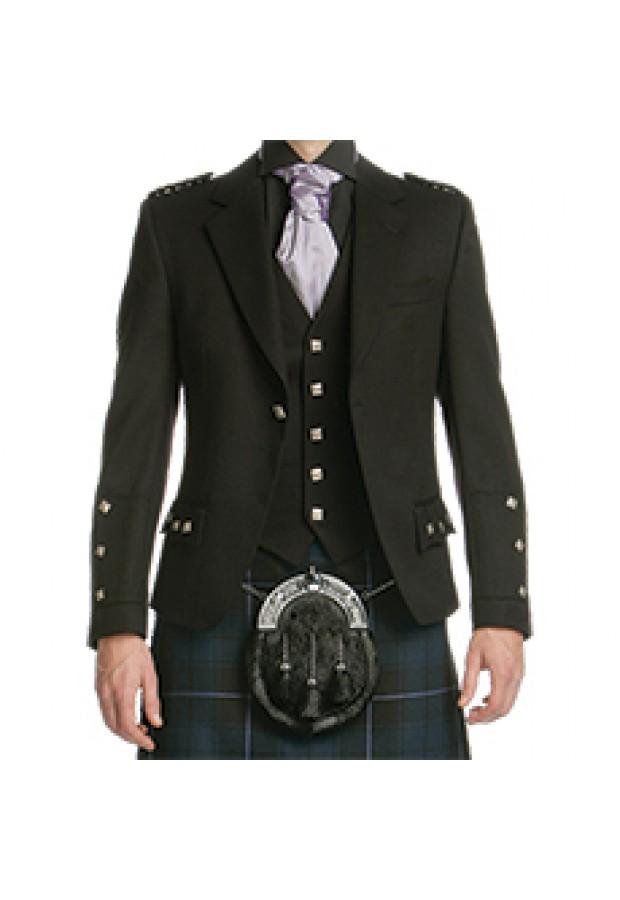 Black Wool Crail Jacket & Waistcoat